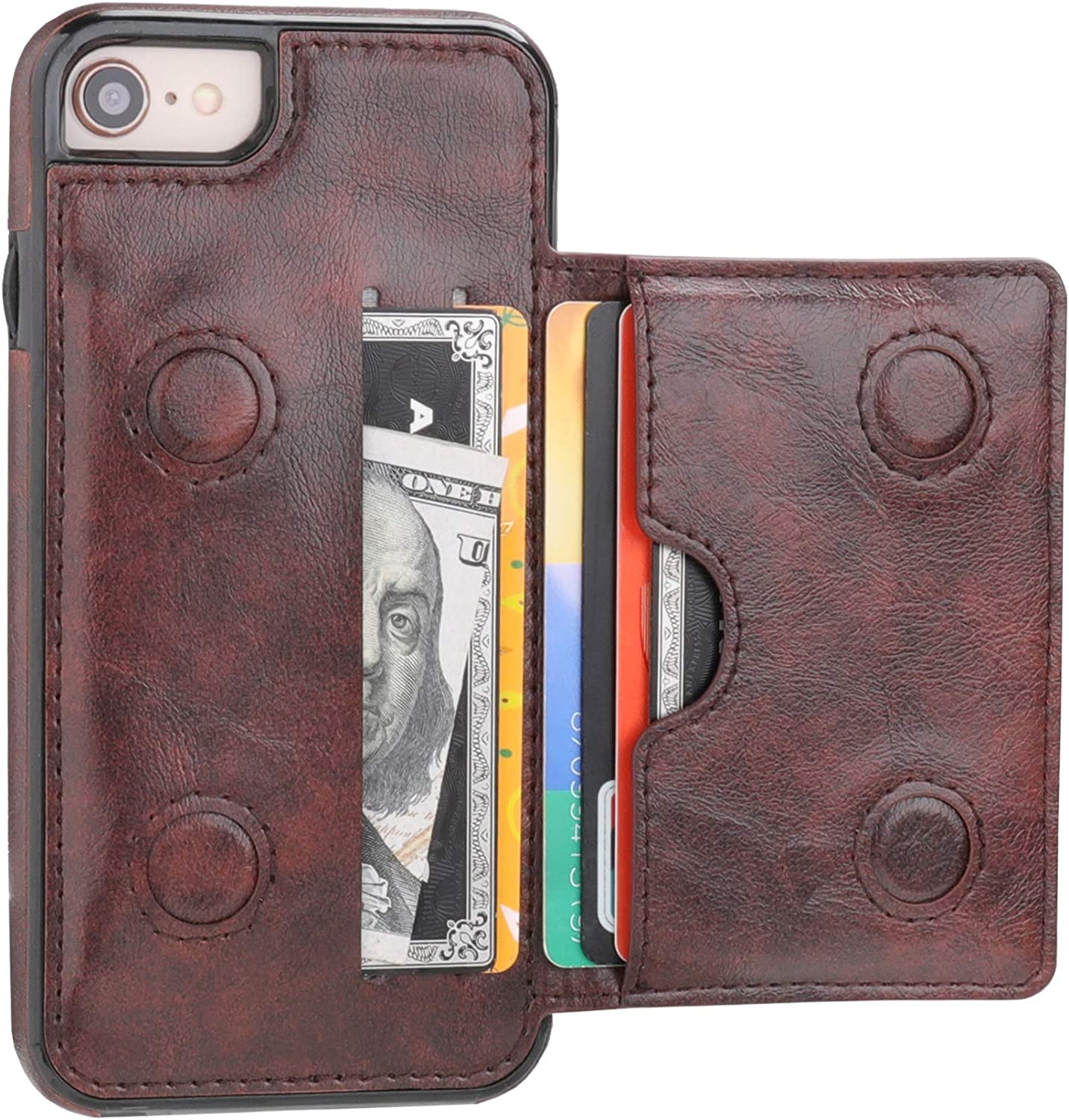 KIHUWEY iPhone 7 Wallet Case iPhone 8 iPhone SE 2020 Wallet Case with Credit Card Holder, Premium Leather Kickstand Durable Shockproof Protective Cover for iPhone 7/8/SE 4.7 Inch(Brown)