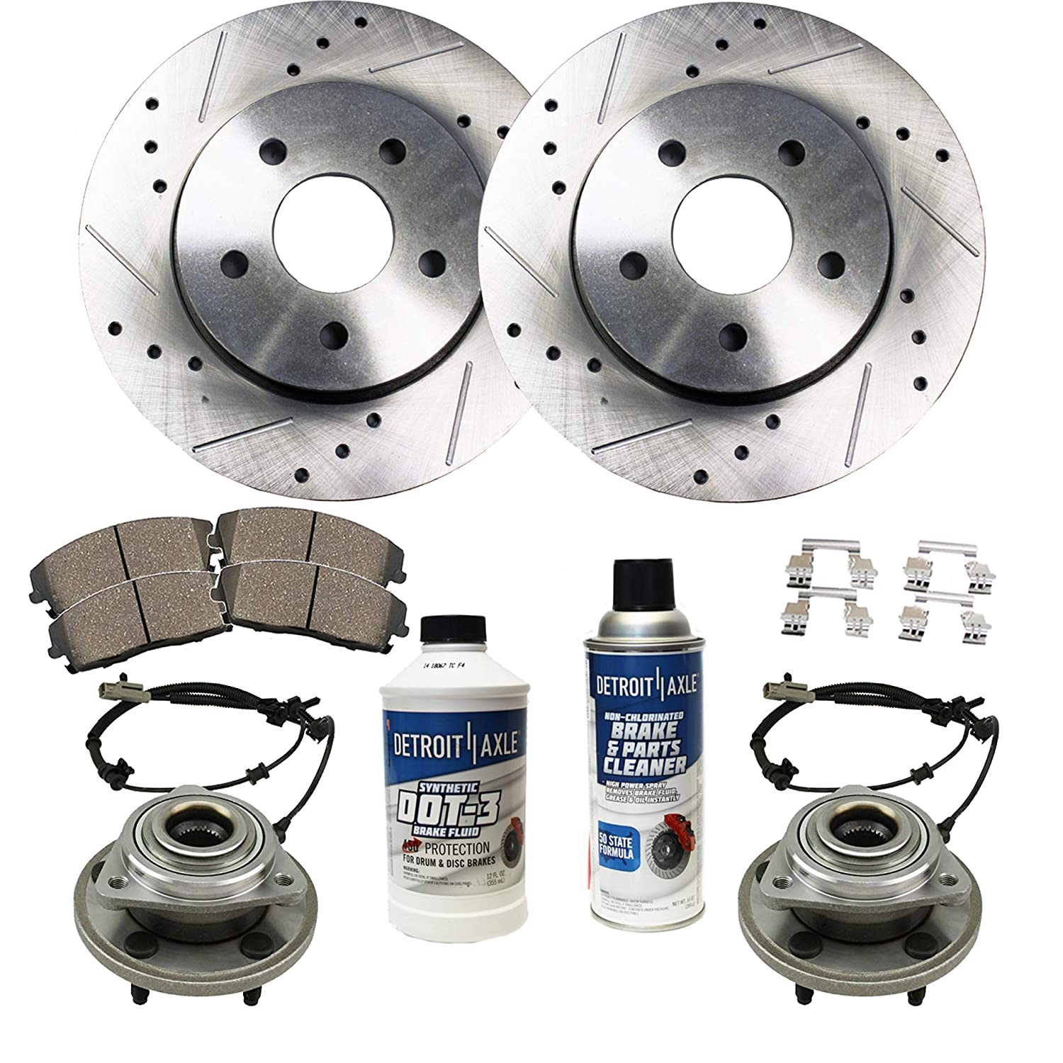 Detroit Axle - Front Wheel Bearing & Hub, Drilled Brake Rotors w/Ceramic  Pads w/Hardware & Brake Cleaner & Fluid for 2006 2007 2008 2009 2010 Jeep