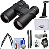 Nikon Monarch 7 10x42 ED ATB Waterproof/Fogproof Binoculars with Case + Harness + Smartphone and Tripod Adapters + Monopod + Cleaning Kit