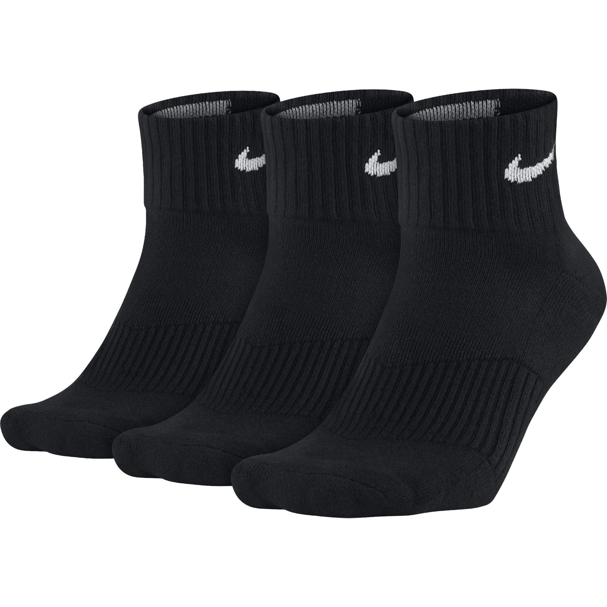 NIKE Unisex Performance Cushion Quarter Training Socks (3 Pairs), Black/White, Medium