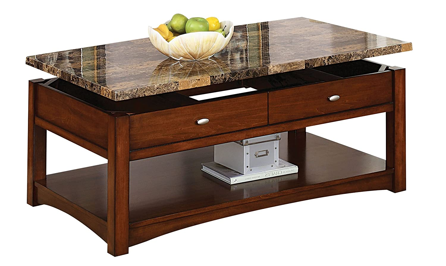 Amazon Com Acme 80020 Jas Faux Marble Lift Top Coffee Table Cherry Finish Kitchen Dining