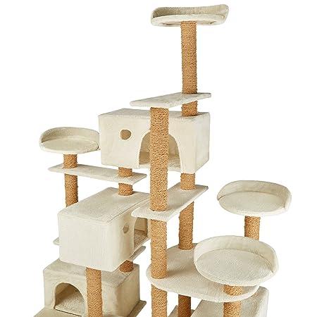 TecTake Árbol rascador para gatos 214 cm de altura | 4 plataformas de observación | 4 cómodas madrigueras - disponible en diferentes colores (Beige | no.