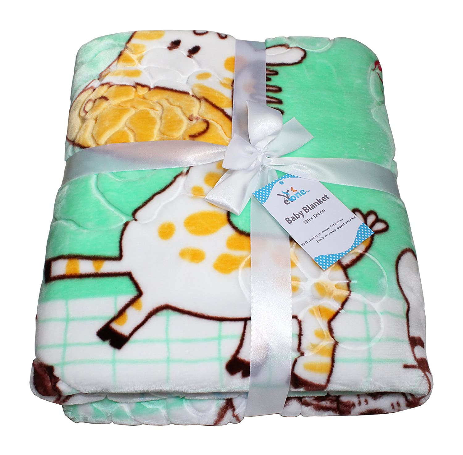 Boy & Girl Baby Blanket Fleece Super Soft With Animal Print, Luxury (Green, 100x110cm) eYone Manufacturing