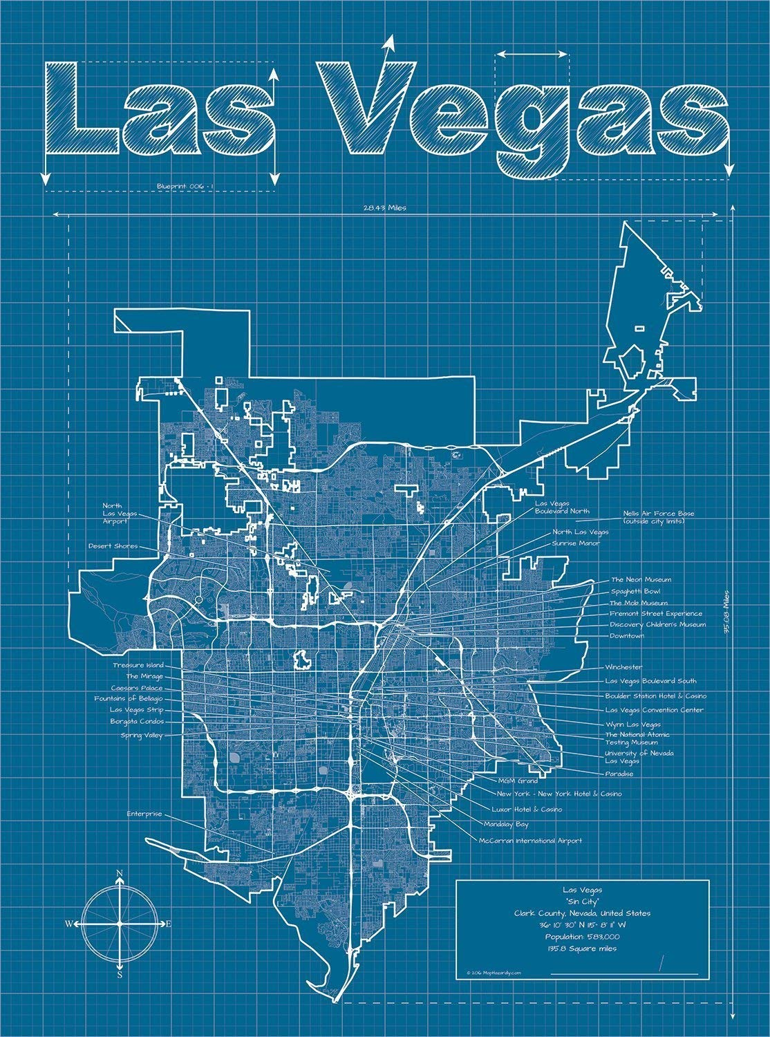 Amazon com: Las Vegas, Nevada Map - Blueprint Style: Handmade