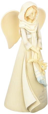 Enesco Foundations Angel with Tulips Figurine, 7.68-Inch