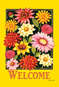 Toland Home Garden Yellow Welcome Bouquet 12.5 x 18 Inch Decorative Spring Summer Flower Double Sided Garden Flag