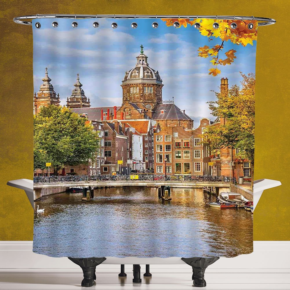 Fun Shower Curtain 3.0 [Cityscape,Canal and Old Church in Netherlands Traditional Romantic Scene of the Europe Home,Multi] Digital Print Polyester Fabric Bathroom Set