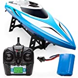 Force1 Velocity RC Boat - H102 Remote Control Boat for Pools and Lakes, 20+ mph Fast RC Boats for Adults and Kids (Blue)