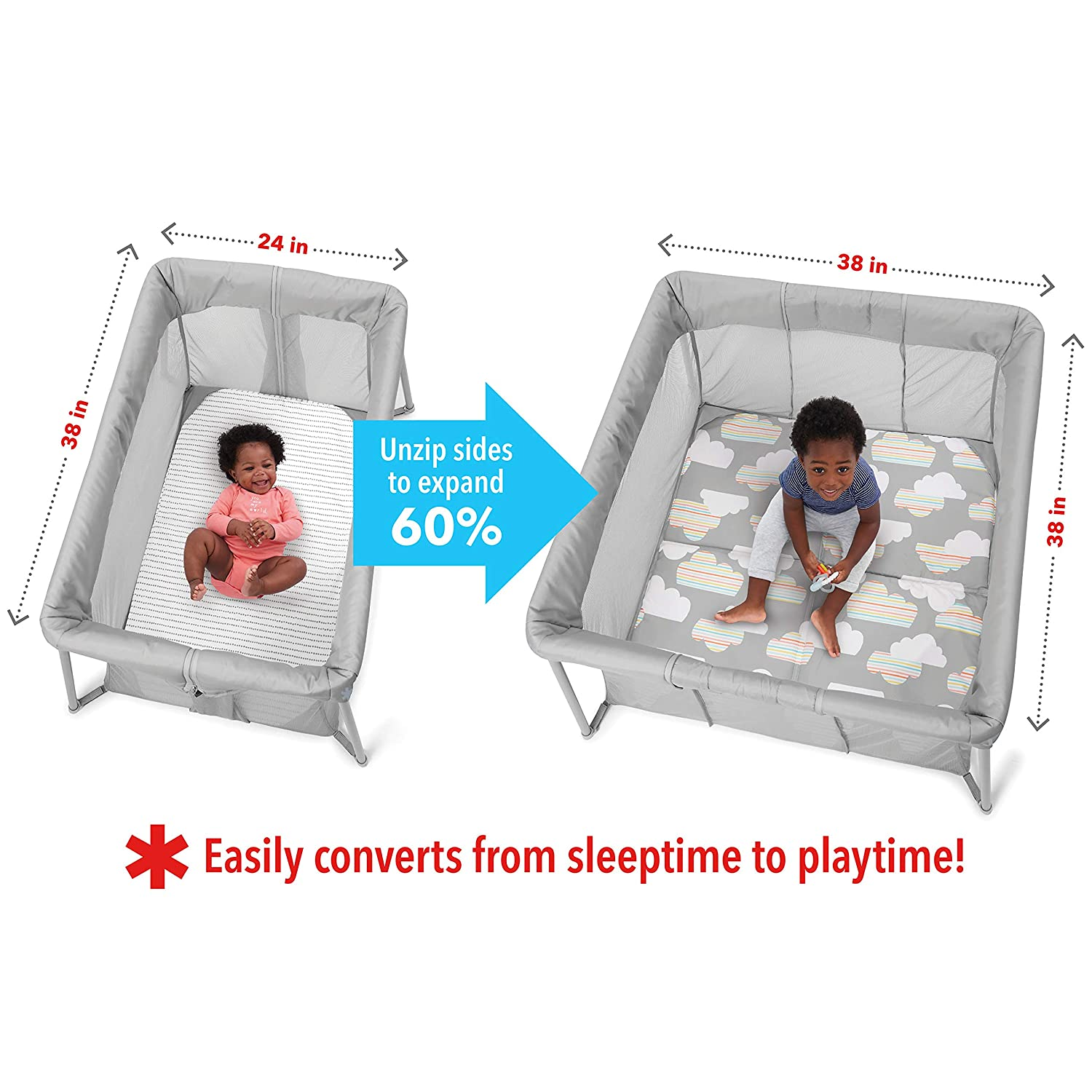 Skip Hop Portable Playard and Foldable Expanding Travel Crib Playpen Play to Night