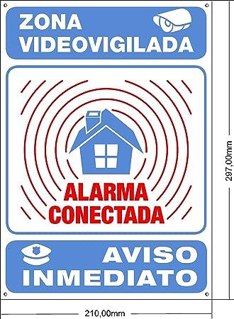 ★★★★★ Cartel disuasorio Interior/Exterior Premium y Ultra-Resistente metálico, Cartel disuasorio Alarma conectada Aviso policía, 30x21 cm ★★★★★