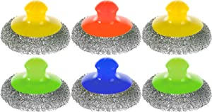 Kitchen Stainless Steel Scrubber with Handle - Set of 6 - Steel Wool Scrubbers - Metal Scouring Pad