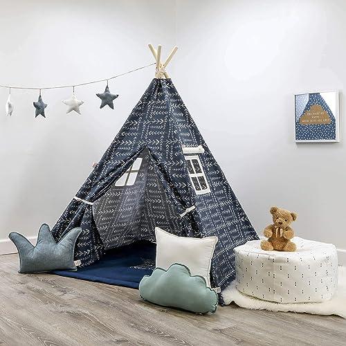 Image Unavailable & Amazon.com: Kids Teepee Tent Set Native Spruce Blue Teepee Set ...