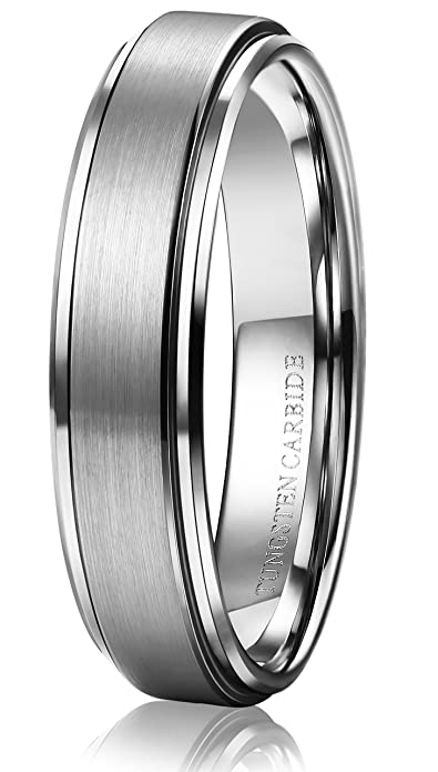 f32d2f54a77047 Tungary 6mm Tungsten Carbide Rings for Men Women Wedding Band Engagement  Promise Brushed Size 7