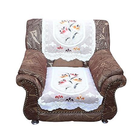 Kuber Industries 6 Piece Cotton 5 Seater Sofa Cover Set - Cream