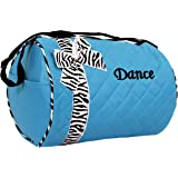 Dance bag - Quilted Zebra Duffle in Aqua / Turquoise