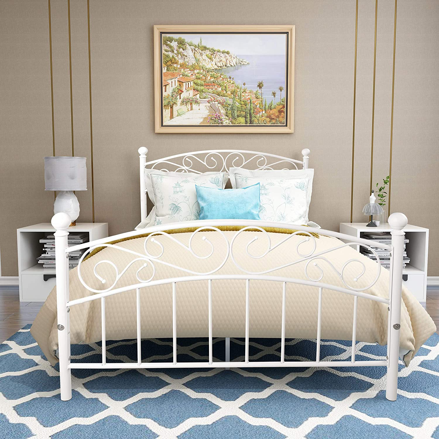Elegant Home Products Bed Frame Platform Bed Heavy Duty With Headboard And Footboard Mattress Foundation Bedroom Furniture No Box Spring White Sand Line Full Amazon In Home Kitchen