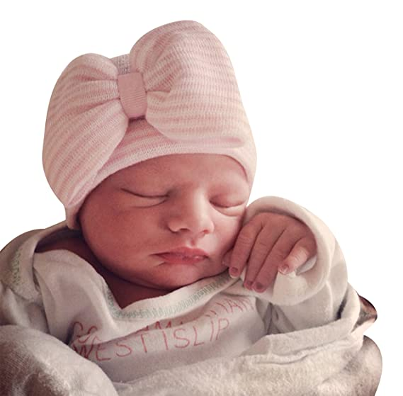 f986076cd1d Image Unavailable. Image not available for. Color  Infanteenie Beenie Pink  and White Newborn Hospital Hat ...