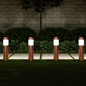 "Pure Garden 50-LG1071 Solar Path Bollard, Set of 6-15"" Stainless Steel Outdoor Stake Lighting for Garden, Landscape Yd, Driveway, Walkway (Copper)"