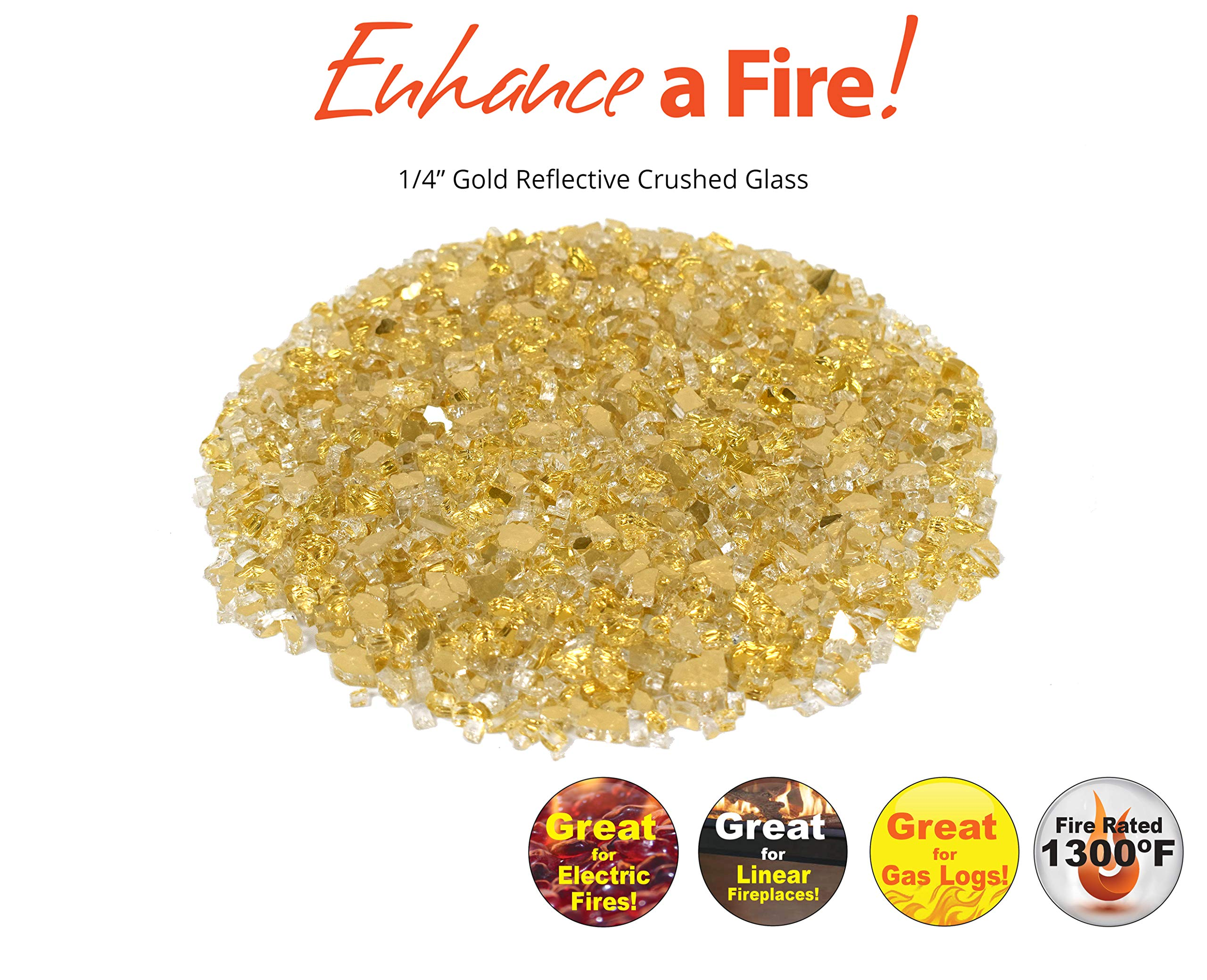 Enhance A Fire! ¼'' Reflective Crushed Tempered Fire Glass (20, Gold) by Enhance A Fire!