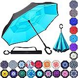 Double Layer Inverted Umbrellas Reverse Folding Umbrella Windproof UV Protection Big Straight Umbrella Inside Out Upside…