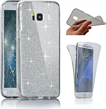 Uposao Coque pour Galaxy S7 Coque 360 Degr/é Int/égral Avant et arri/ère Full Body Coque Etui Glitter Brillant Paillette Coque Ultra-Mince Transparent Silicone Souple TPU Case Galaxy S7,Rose