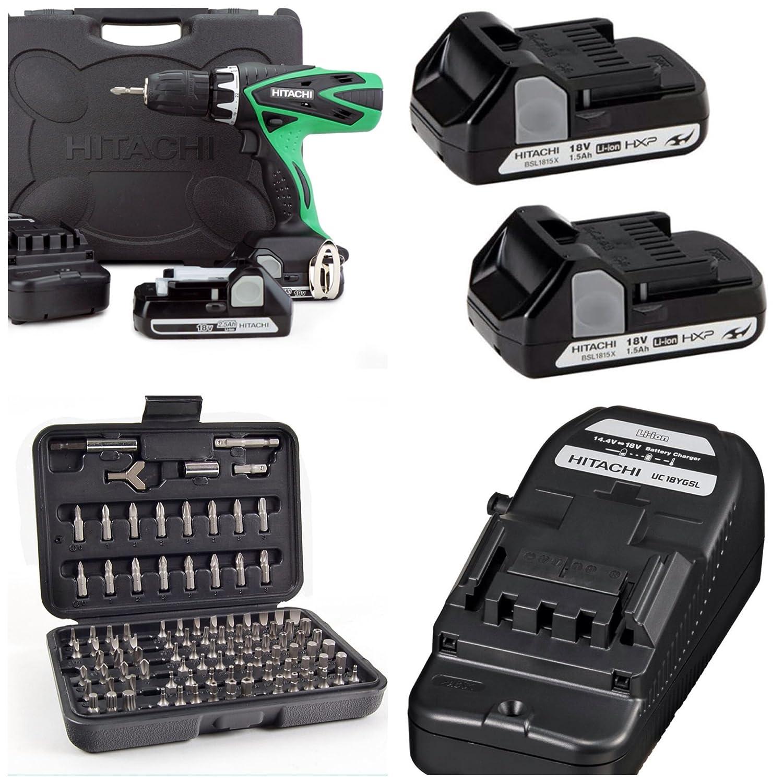 hitachi 18v charger. hitachi dv18dsfl 18v cordless combi drill + 2 batteries, charger \u0026 carry case: amazon.co.uk: diy tools 18v