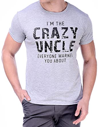 Rocksir Crazy Uncle Funny T Shirts Mens Black Gray Humor Sayings Slogans Cotton Tee Best To