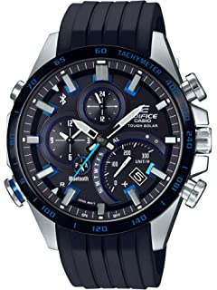 Casio Mens Edifice Stainless Steel Quartz Watch with Rubber Strap, Black, 22 (Model