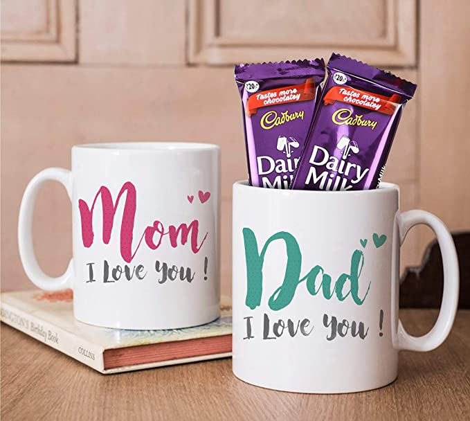 Tied Ribbons Anniversary Gift Parents Set Of 2 Printed Coffee Mug With Dairy Milk Chocolates Amazon In Grocery Gourmet Foods