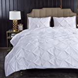 Litanika White Pinch Pleat Duvet Cover Queen (90x90 inches), 3 Pieces (1 Duvet Cover, 2 Pillow Cases) Bedding Set, Smooth Mic