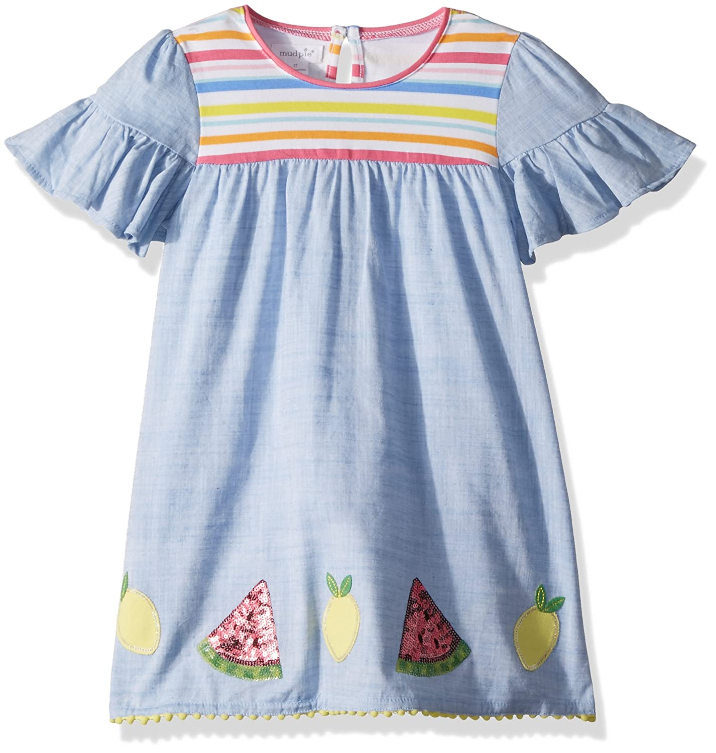 787990ddd6b Short sleeve chambray dress features ruffle sleeves and contrast cotton  spandex chest piecing. Sequin watermelon and jersey lemon appliques and  pom-pom trim ...