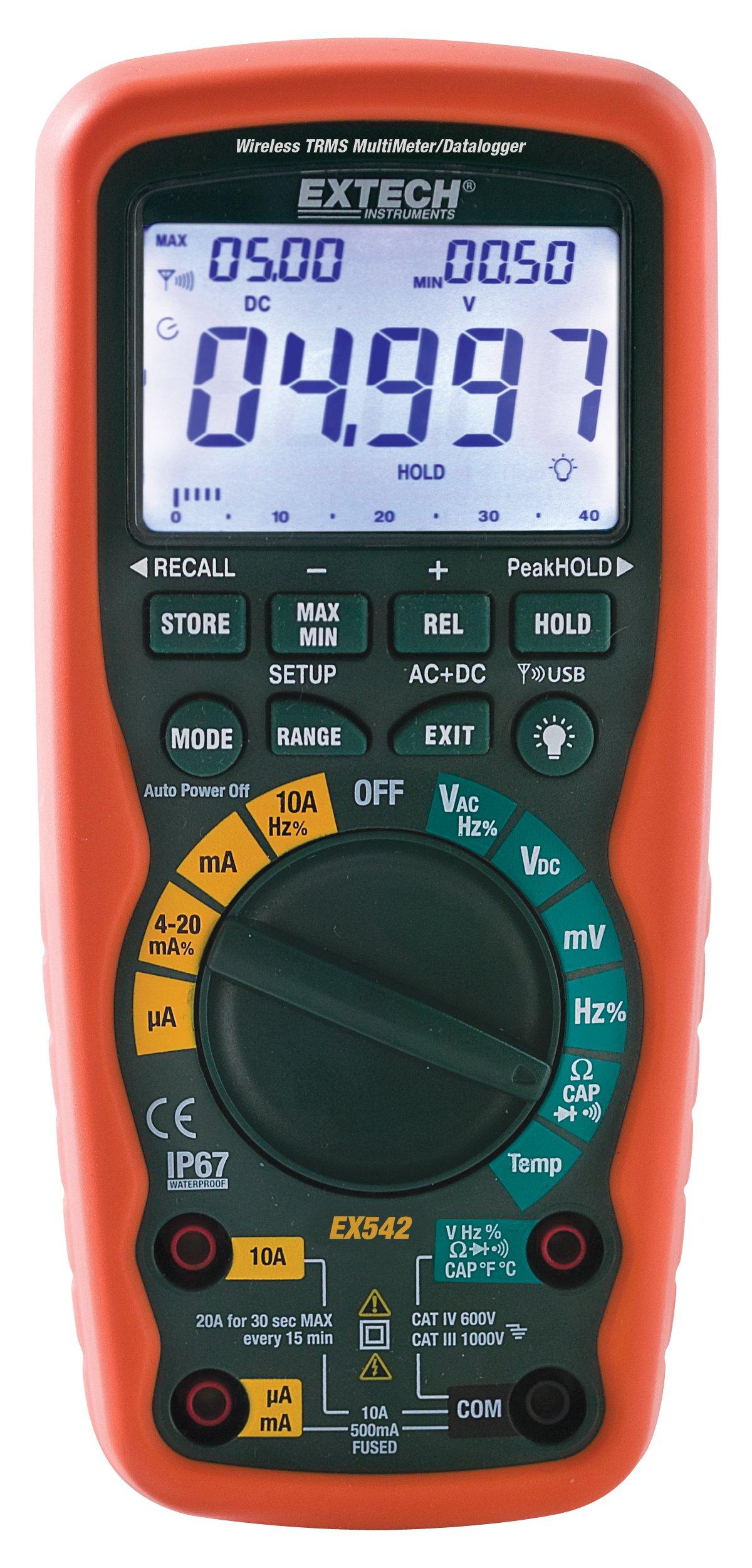 Extech EX542 Wireless 433MHz True RMS Industrial MultiMeter/Datalogger