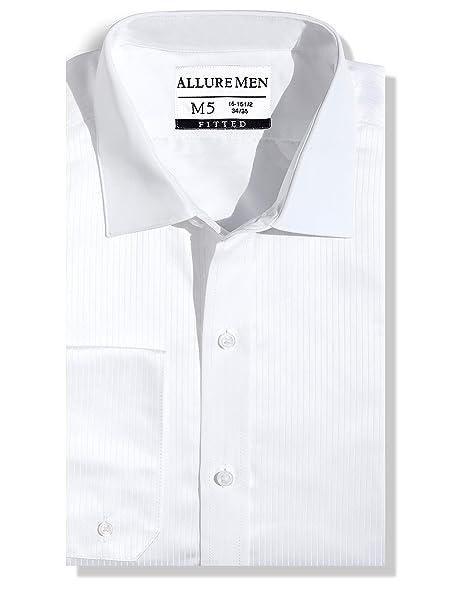 Amazon.com: Allure - Camisa de vestir suiza plisada para ...