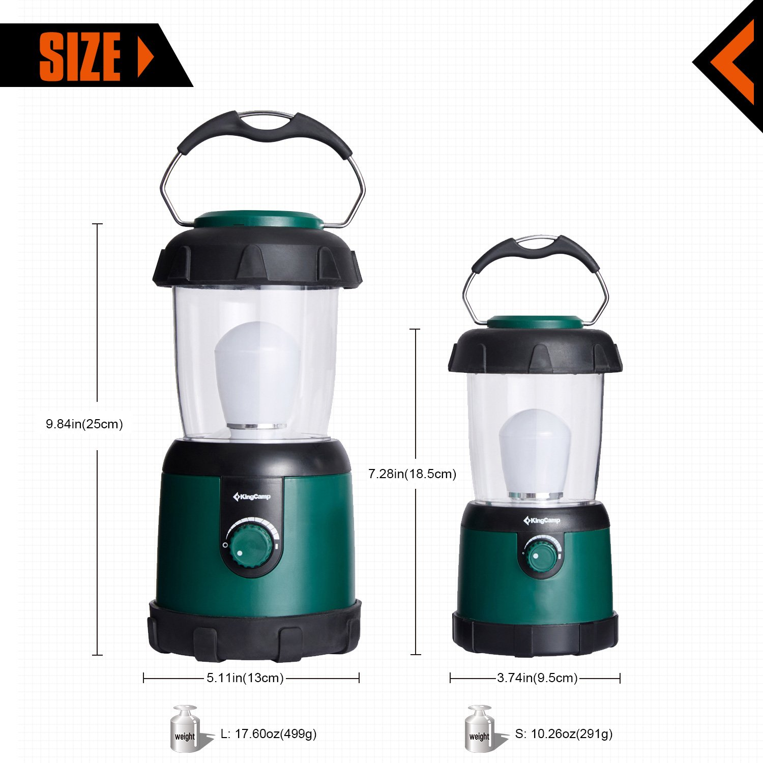 KingCamp Portable Light Outdoor Lantern Emergency Lighting for Camping, Hiking, Traveling, Emergencies, Hurricanes, Outages (S Size)