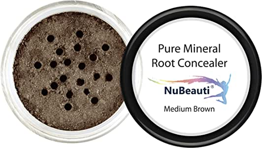 Root Concealer Touch Up Powder | All-Natural Crushed Minerals WITHOUT Brush | Fast and Easy Total Gray Hair Cover up For Black | Brown | Auburn and Blonde Hair .32 Ounce (Medium Brown-Without Brush))