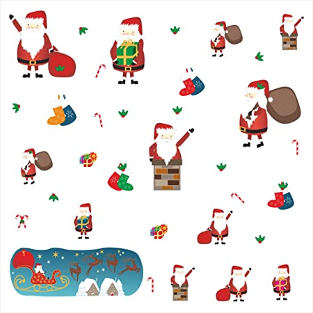 Christmas Wall Decals Removable.Santa Removable Christmas Wall Stickers High Quality Fabric Wall Stickers For Kids Christmas Wall Decals Removable And Reusable Christmas Wall