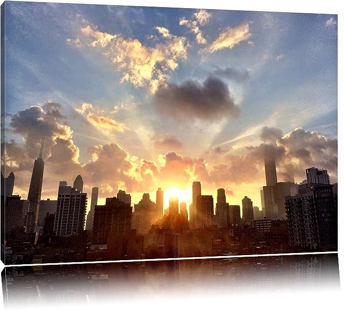 Horizonte de Chicago en la salida del sol Formato: lienzo 120x80 ...