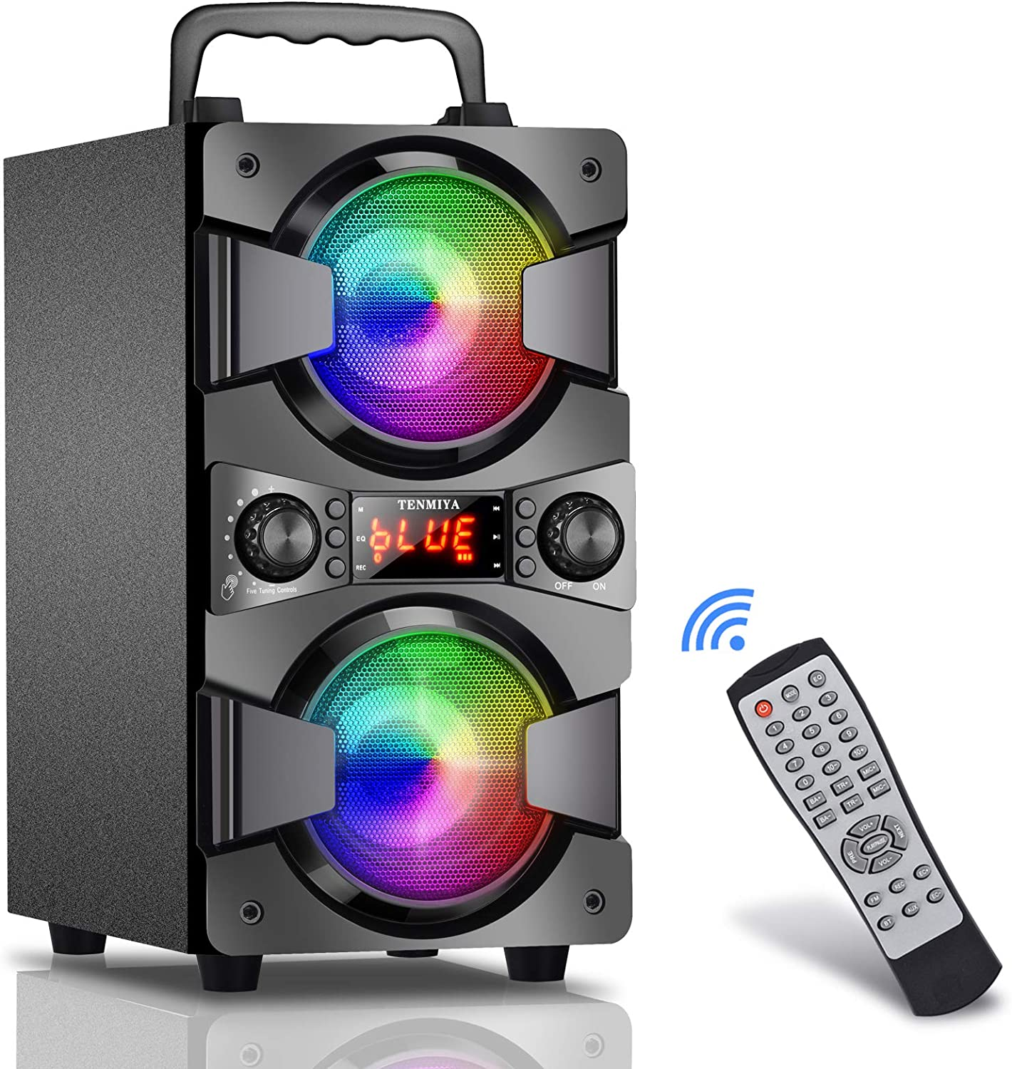 Bluetooth Speaker, 60W (80W Peak) Portable Wireless Speaker with Lights, Double Subwoofer Heavy Bass, FM Radio, MP3 Player, Microphone, Remote, Rich Stereo, Loud Speaker for Home Outdoor Party Camping
