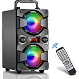Bluetooth Speakers, 60W (80W Peak) Portable Wireless Speaker with Lights, Double Subwoofer Heavy Bass, FM Radio, MP3 Player,