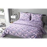 haus & kinder Chic Floral Art 100% Cotton Double Bedsheet with 2 Pillow Covers, 186 TC (Violet)