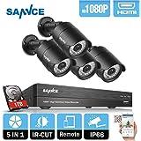Sannce 4CH 1080P(1920x1080) AHD Kit de Vidéo Surveillance avec 2.0MP Caméra Surveillance AHD Jour/Nuit Haue Résolution Accès a Distance Avec Surveillance Disque Dur de 1TB
