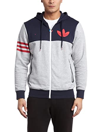 Adidas Originals Zip Up Hooded Cb Full Zip Hoodie Jumper Grey Grey