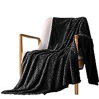 "Exclusivo Mezcla Large Flannel Fleece Throw Blanket, Jacquard Weave Leaves Pattern (50"" x 70"", Black) - Soft, Warm…"