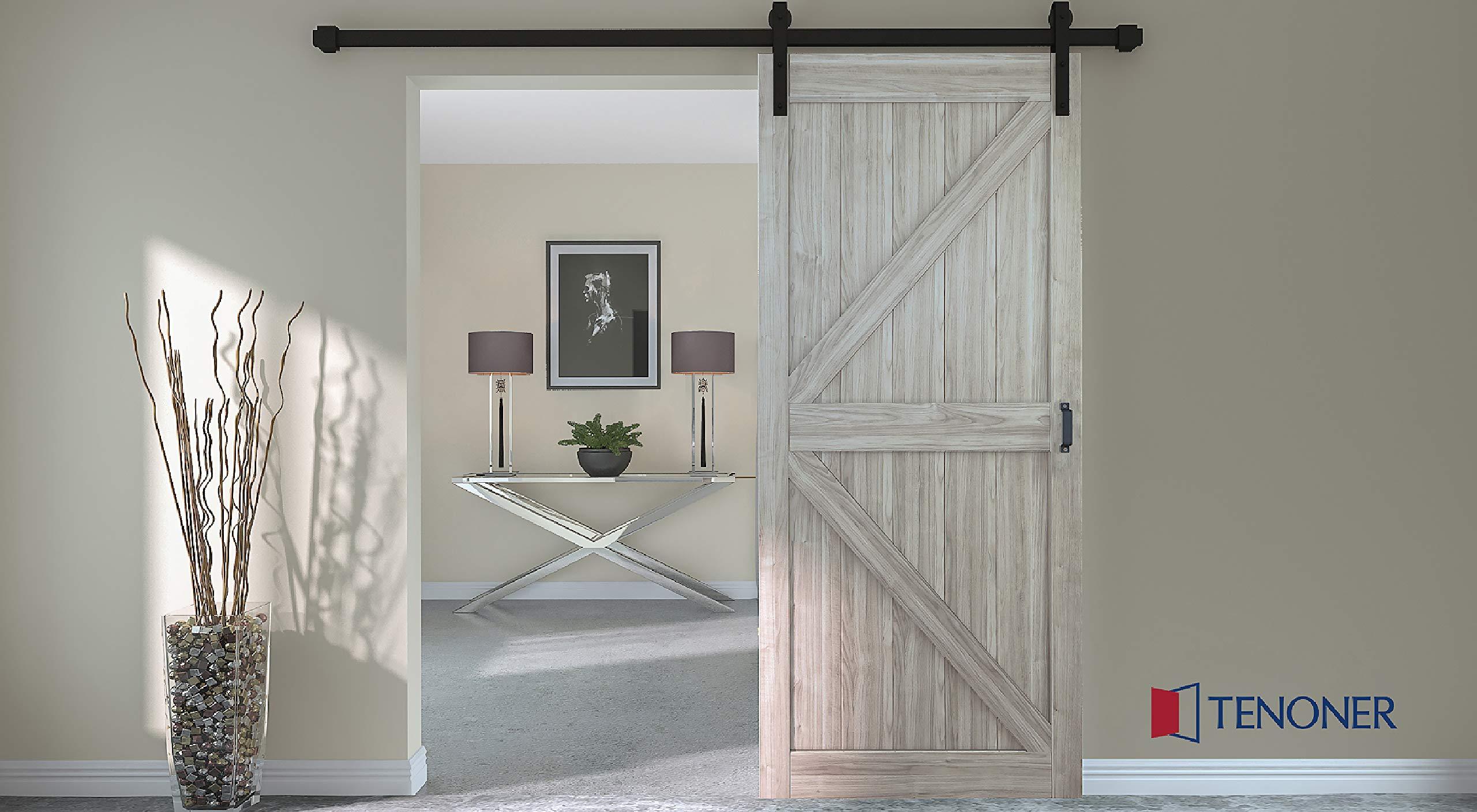 TENONER 36in x 84in Grey K-Frame Sliding Barn Door, 6.6ft Barn Door Hardware Kit & Handle Included by TENONER (Image #2)