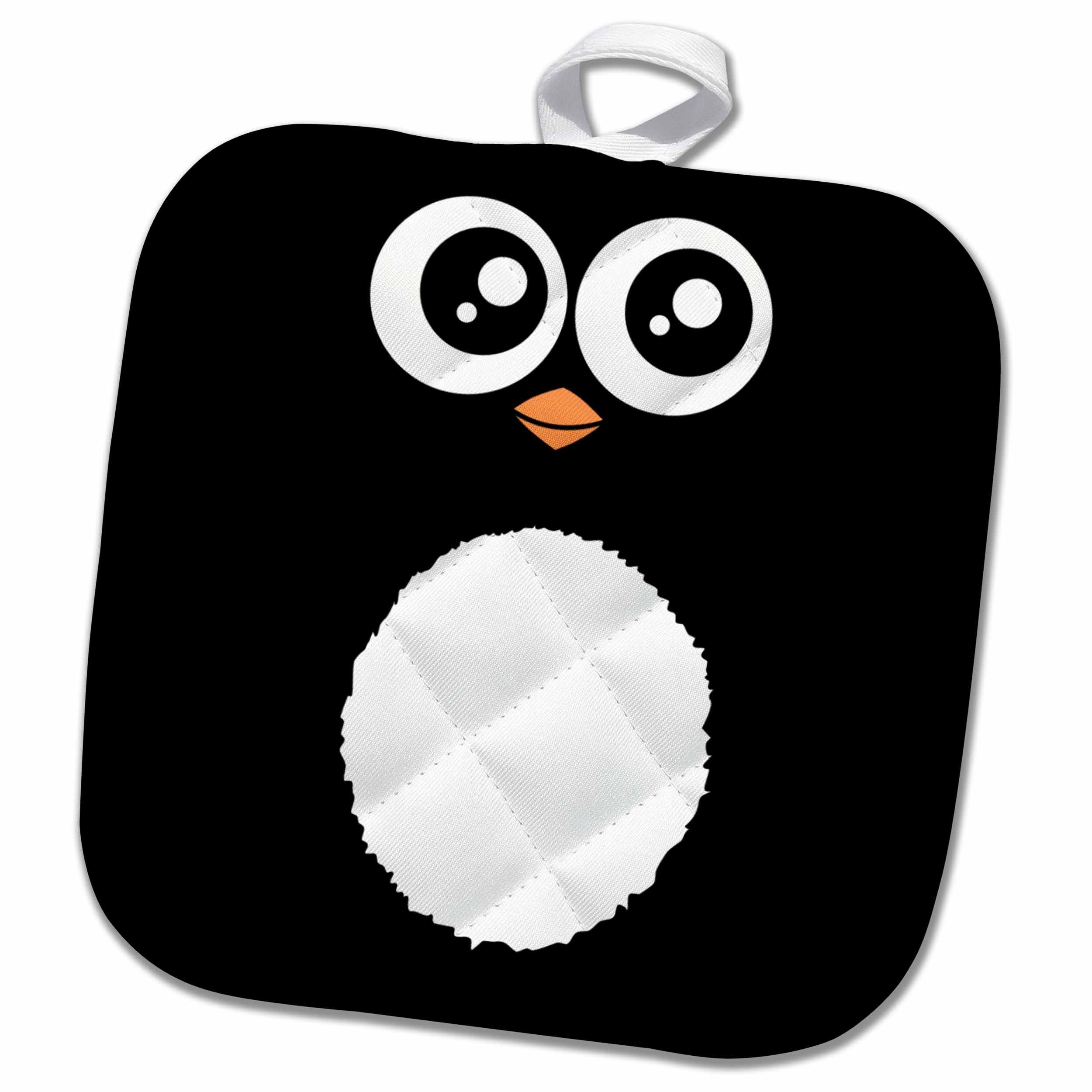 3D Rose Cute Black Cartoon - Kawaii Sweet Animal Square - Adorable for Kids and Children - Penguins Pot Holder, 8 x 8
