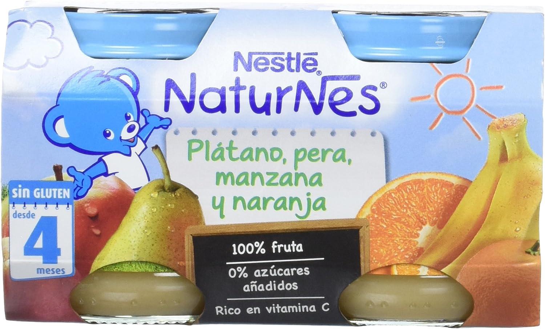 Nestlé Naturnes - Alimento Infantil Plátano, Pera, Manzana y Naranja - Paquete de 2 x 130 g - Total: 260 g - , Pack de 6: Amazon.es: Alimentación y bebidas
