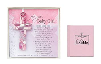 Amazon.com : Christening Gifts For Girls Gift Set Handmade in the USA Glass Cross for Baby Girls and Babys First Bible for Girls Great Baptism Gifts for ...