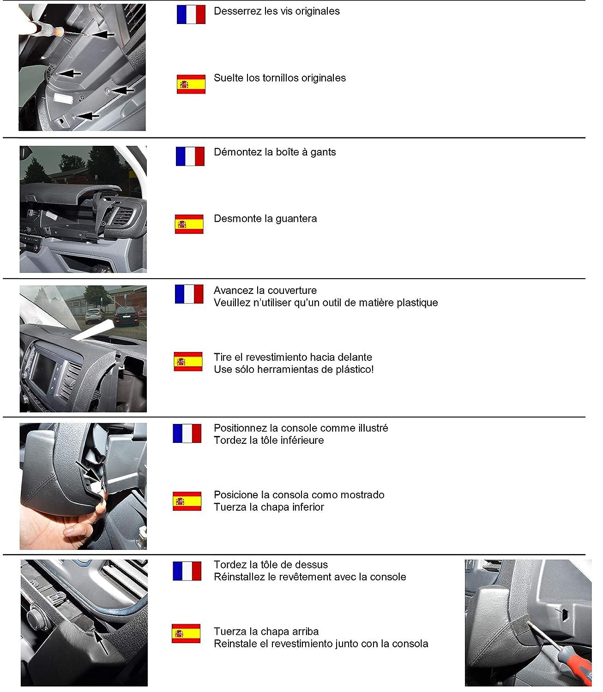LHD pour Citro/ën Jumpy//Peugeot Expert//Toyota proace /à partir de 2016/cuir v/éritable noir Kuda Console de t/él/éphone