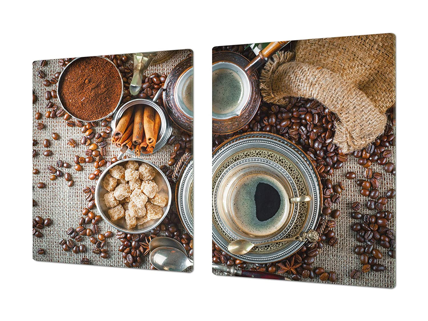 Coffee 9 2x40x52 HUGE Cutting Board – Worktop saver and Pastry Board – Scratch & Shatter Resistant Glass Kitchen Board; MEASURES  SINGLE  80 x 52 cm (31,5  x 20,47 ); DOUBLE  40 x 52 cm (15,75  x 20,47 ); Coffee series DD07