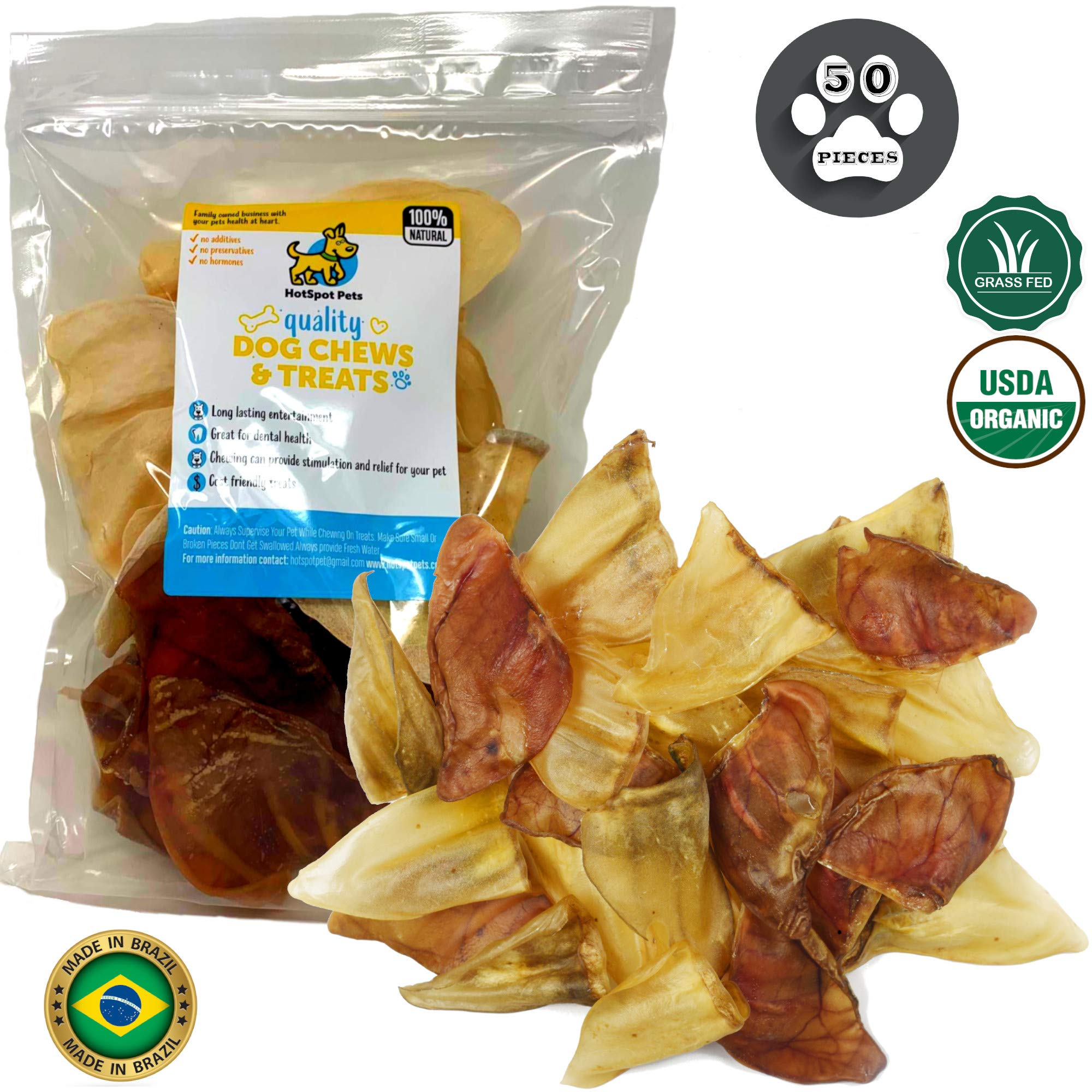 Pig Ears for Dogs Cow Ears for Dogs Large 50 Pack Combo Rawhide Free Dog Chews 100% Natural Pork & Cow Ears USDA Certified Dog Treats - Hotspot Pets
